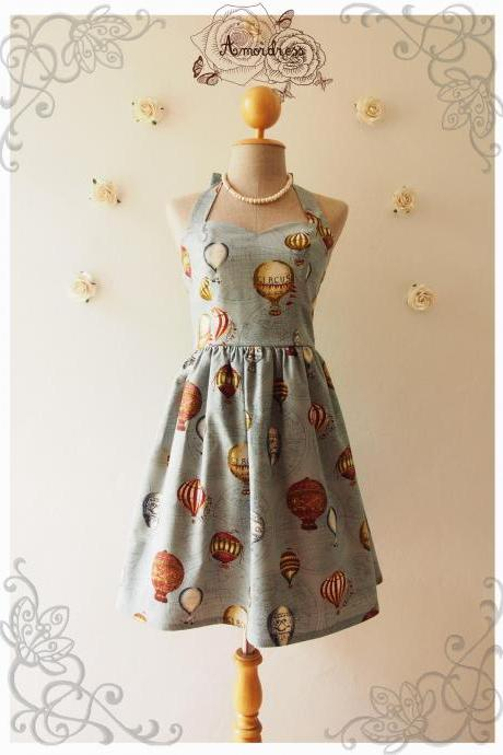 LOVE JOURNEY DRESS : Balloon world map dress whimsical sundress vintage inspired dress summer dress party dress rustic blue - xs-xl