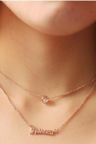 princess necklace clavicular short chain necklace