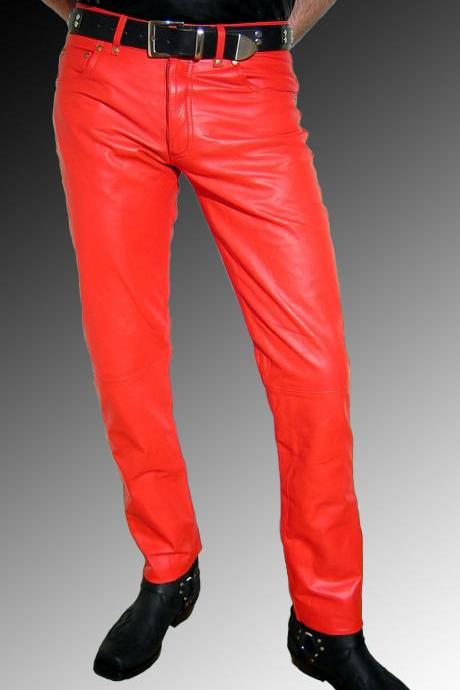 Handmade men leather jeans red leather pants red trousers men