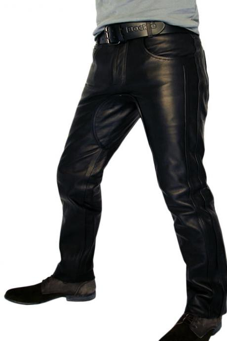 Handmade men leather jeans black leather pants red trousers men