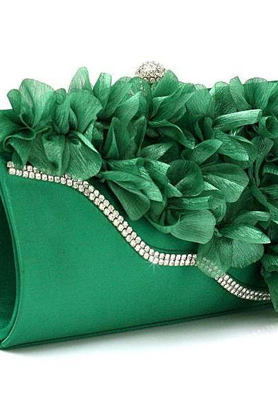 GREEN Bridal Pearl Clutch-Luxurious Shoulder Bag Floral Bag Clutch- Evening Purse for Women
