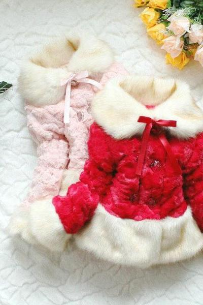 Red Fur Coats Winter Christmas Coats for Toddler Girls 2T,3T,4T,5T