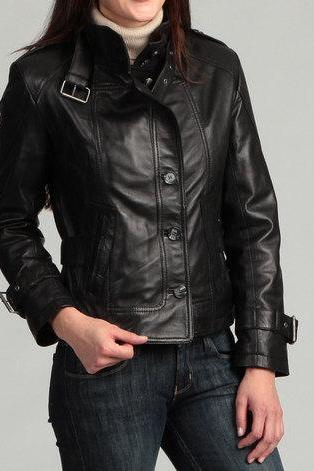 Handmade women black leather jacket with belted collar