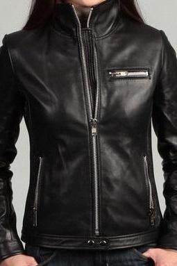 Handmade women black leather jacket with stand collar