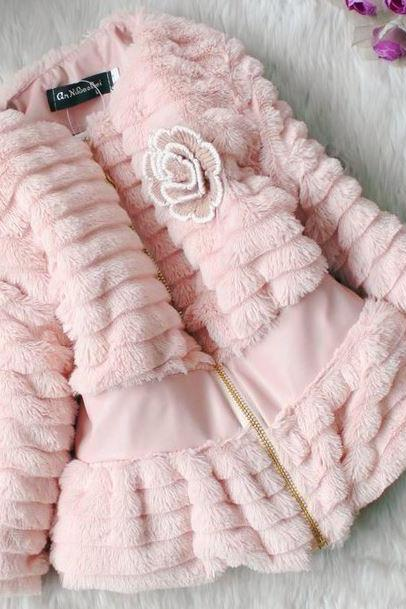 Pink JACKET FOR GIRLS-SUPER SOFT PINK WINTER COATS for baby girls Ages 2T,3T,4T