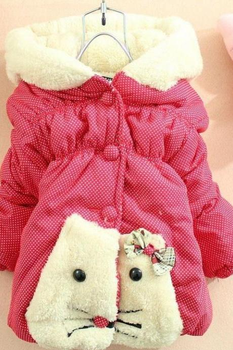 Kitty Jacket Red Jacket for Little Girls-Animal Jacket for Toddler Girls-Red Winter Coat Jacket
