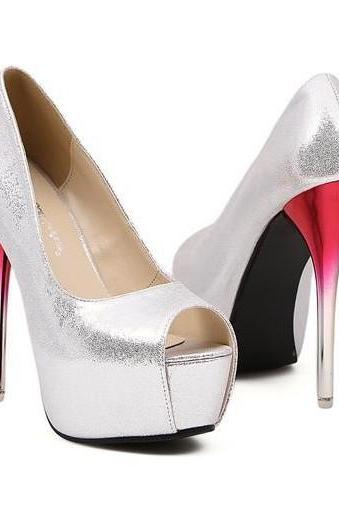 Stylish Silver Peep Toe High Heel Pumps