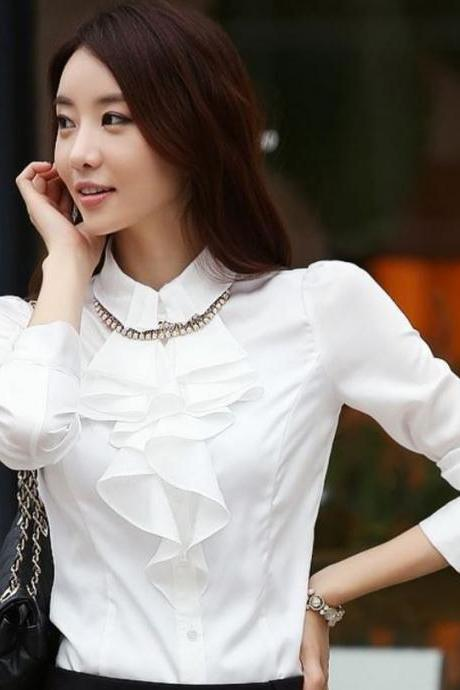 Women Spring and Summer Fashion Style Tops Blouse -WHITE Ruffled Top Blouse