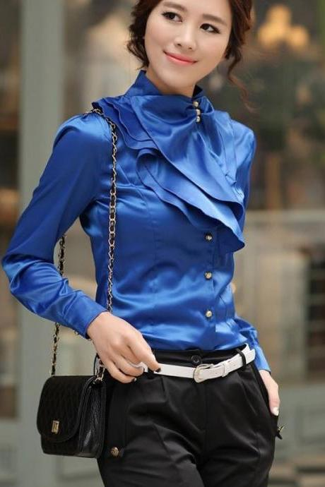 ROYAL BLUE SILK Casual Blouse Ruffles Blouses for Women Work,Offices
