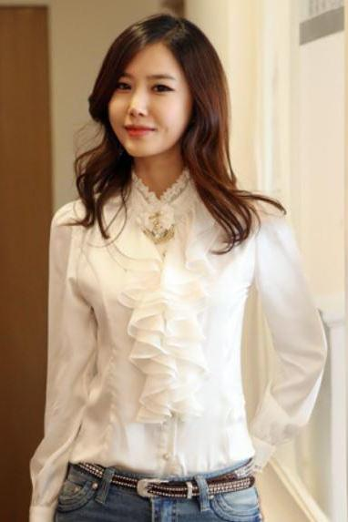 White Blouse Ruffled Blouses White Long Sleeve Tops for Women