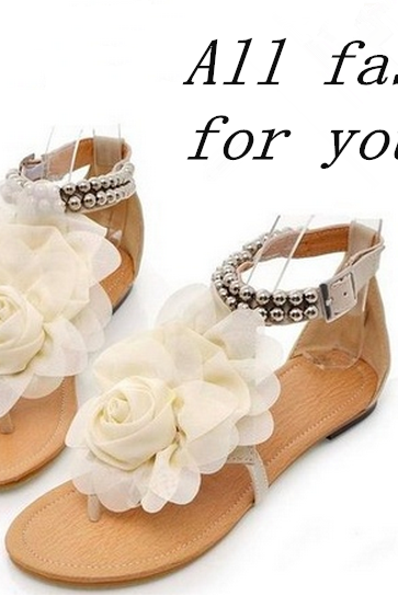 34-43 Bohemia 2014 Sandals Female Beaded Flower FLat Flip-flop flats Women's Shoes