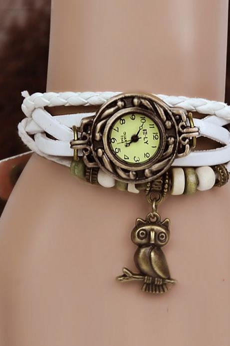 Owl Leather Bracelet Women's Wrist Watch