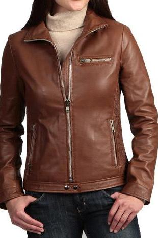 Women Brown biker Leather Jacket, real leather jacket