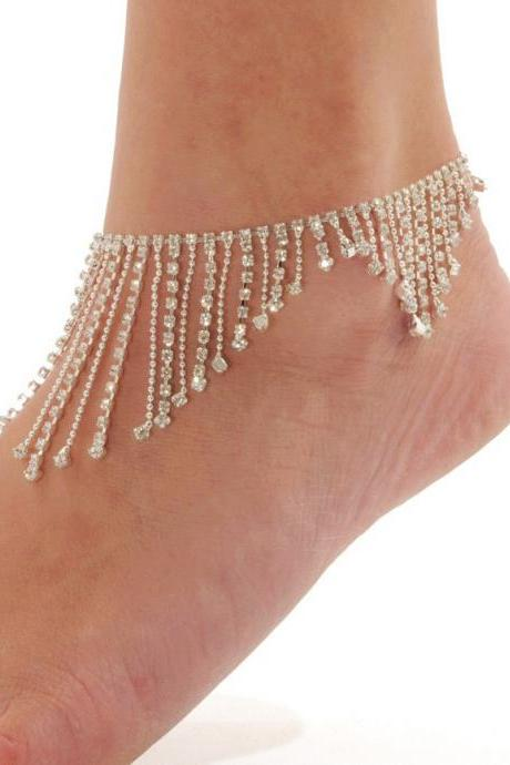 Diamond oranges foot chain