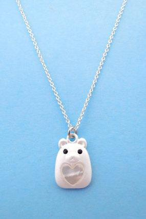 Lovely Teddy, Animal Necklace, Silver bear, Teddy Bear, Necklace
