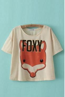 Adorable Fox Print Beige Cotton T-shirt