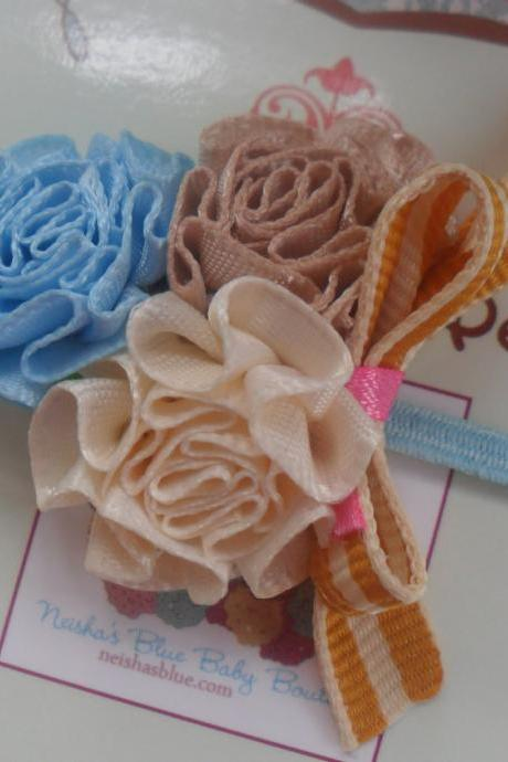 Satin Rose Bloom Headband in Skinny Stretch Ribbon, Perfect Back to School Cute little detail Pick One