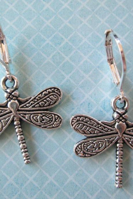 Dragonfly Charm Earrings - Iron Leverback - Jewelry by FIVE
