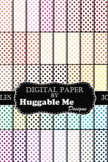 Digital Download, Digital Scrapbook Paper Pack - Polka Dot (60 Colors) - 12'x12' Printable Scrapbook Paper - HMD00095