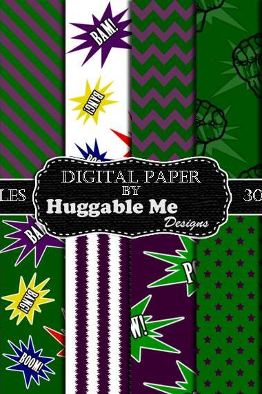 Digital Download Super Hero Scrapbook Paper, Printable Backgrounds, 12x12 - HMD00097