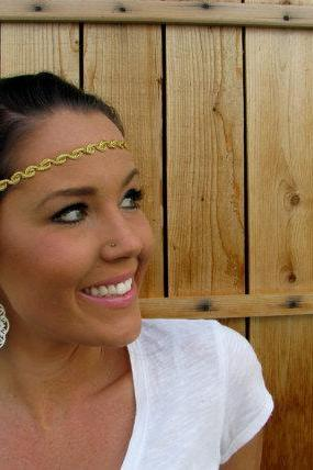Bohemian Indie Hippie Chic Gold Twisted Cord Headband w/ Black Stretch Elastic