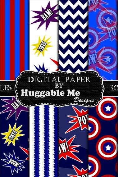 Digital Download Super Hero Scrapbook Paper, Printable Backgrounds, 12x12 - HMD00098
