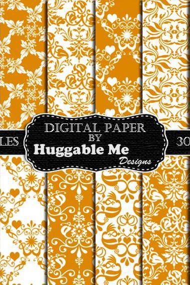 Digital Scrapbook Paper, Gold Damask Printable Paper for Scrapbook Wedding Invitation Cards 12x12 - HMD00101