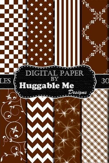 Digital Download Brown and White Pattern Paper for Wedding, Scrapbook, Backgrounds, Cards 12x12 - HMD00102