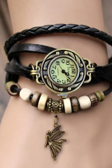 Weave Leather Bracelet Wrist Watch