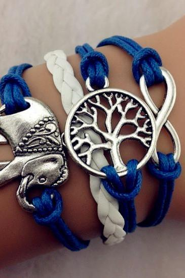 infinity Bracelet elephant bracelet white wax cord blue Braided Leather Antique Bronze Cute Personalized Jewelry friendship gift
