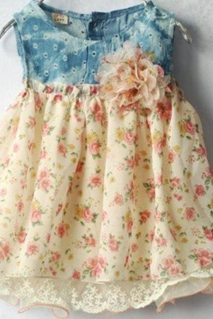 READY FOR SHIPPING Cream Dress Newborn Denim Dresses for Girls Denim Floral Dresses