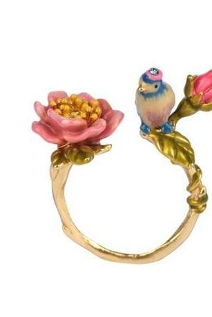 Authentic Les Nereides flower bird enamel glaze pink flowers and vines adjustable opening ring