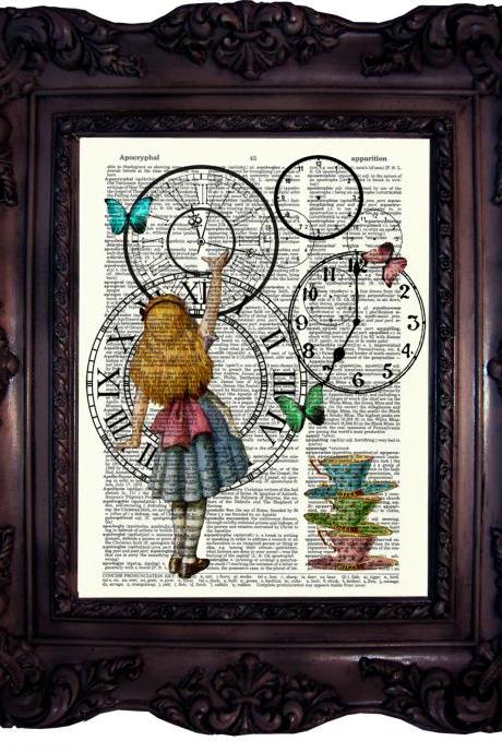 Alice in wonderland. Tea Time. Clock. Dictionary art print. Vintage Art Print on Book page.Tea Time. Art print. Dictionary print. Code:031
