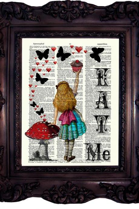 Alice in Wonderland Eat Me. Vintage Dictionary art print. Art Print on Book Page. Art print. Dictionary print. Butterflies. Hearts. Code:022