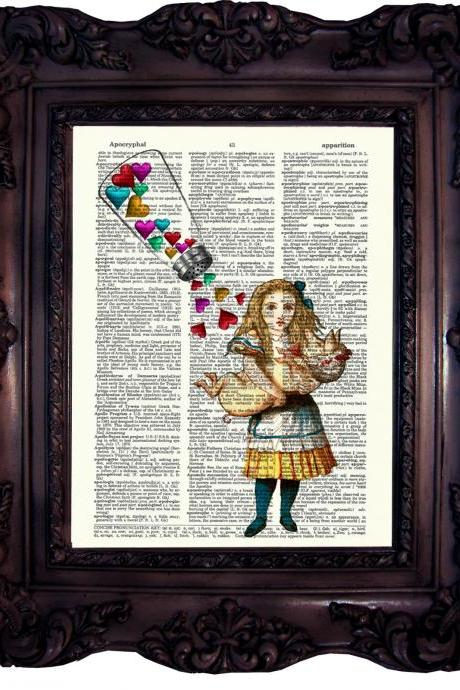 Alice in Wonderland. Dictionary art print. Vintage Art Print. Print on book page. Alice print. Baby room decor. Alice decoration. Code:497