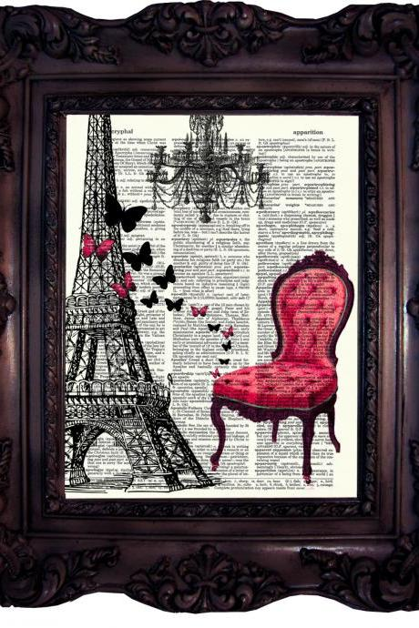 Eiffel Tower with Butterflies. Vintage Dictionary Art Print. Old Book Page. Paris Art print. Parisien Dictionary Print. Code:205