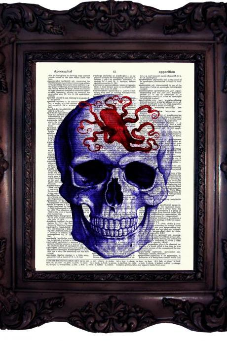 Skull art octopus. Dictionary art print. Vintage Art Print on Book Page. Art print. Dictionary print. Octopus. Anatomy. Steampunk. Code: 051