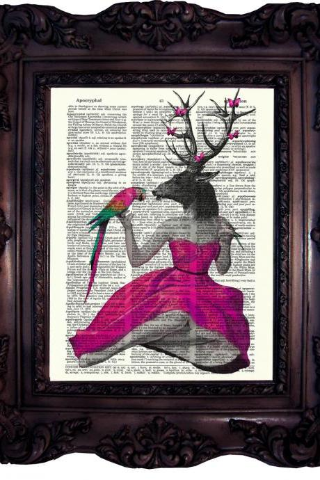 Steampunk Pin Up Deer in Pink. Dictionary art print. Vintage Art Print on Book Page. Art print. Dictionary print Parrot. Butterfly. Code:156