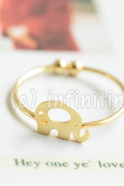 Gold Star mini cute elephant adjustable ring,RN2587