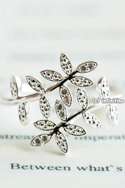 Silver Double leaf branch adjustable ring,RN2588