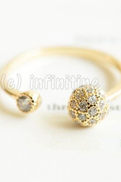 Gold Cz earth globe adjustable ring,RN2593