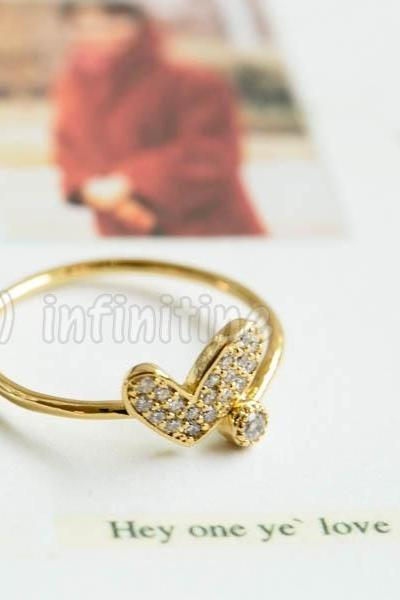 Gold Cz love love heart adjustable ring,RN2594