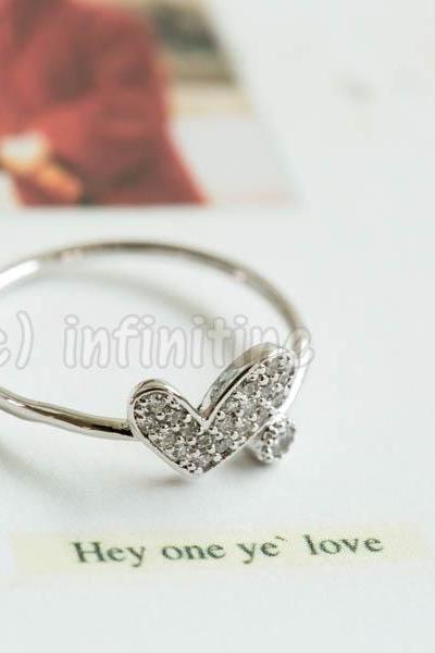 Silver Cz love love heart adjustable ring,RN2594