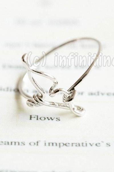Silver Line whale tail ring,RN2595