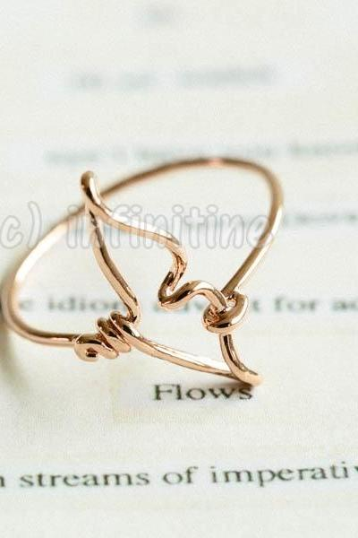 Rose gold Line whale tail ring,RN2595