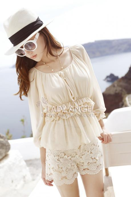 Beautiful Ruffles Design Chiffon Long Sleeve Blouse in Light Apricot