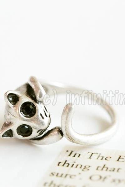 Silver Vintage cat ring,RN2597
