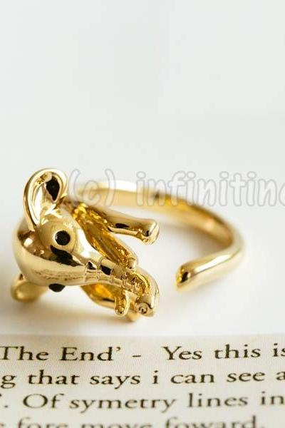 Gold Glazed elephant ring,RN2598