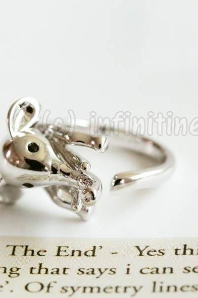 Silver Glazed elephant ring,RN2598