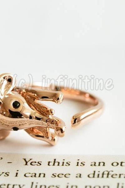 Rose gold Glazed elephant ring,RN2598